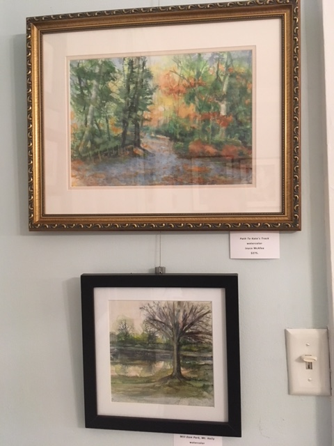 """Path to Kate's Track"", watercolor, by Joyce McAfee (top); ""Mill Dam Park, Mt Holly"", watercolor, by Joyce McAfee (bottom)"