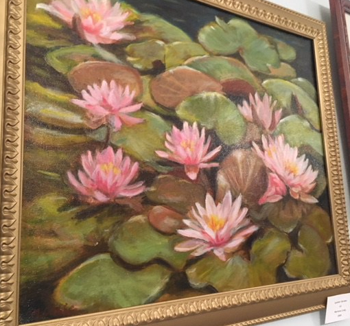 Oil painting of water lilies.